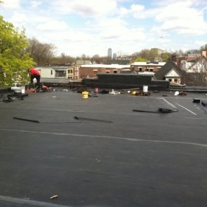 Woburn Flat Rubber Roof Installation
